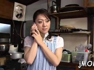 Pretty asian mature plays with water primarily her viscous cum-hole