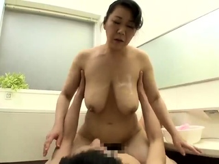 Busty Japanese girl almost hairy cunt